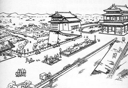 20世纪50年代初,梁思成手绘的北京城墙和城门楼改造图稿